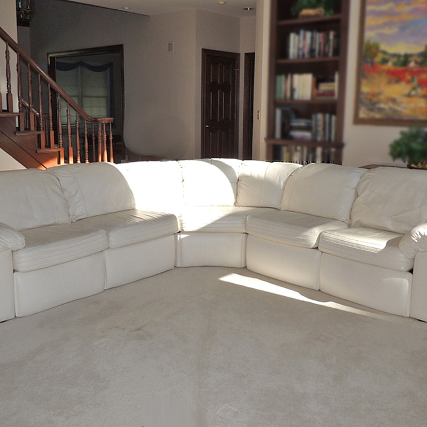 Excellent Bradington Young White Leather Sectional Sofa Andrewgaddart Wooden Chair Designs For Living Room Andrewgaddartcom