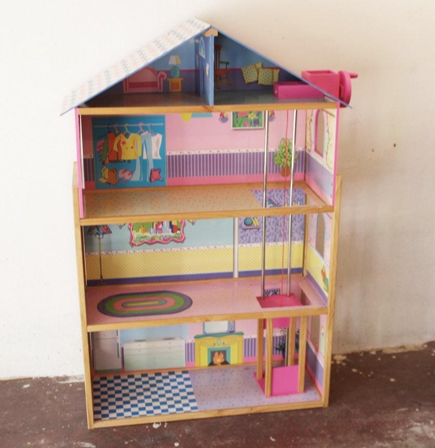 large wood doll house with elevator ebth. Black Bedroom Furniture Sets. Home Design Ideas