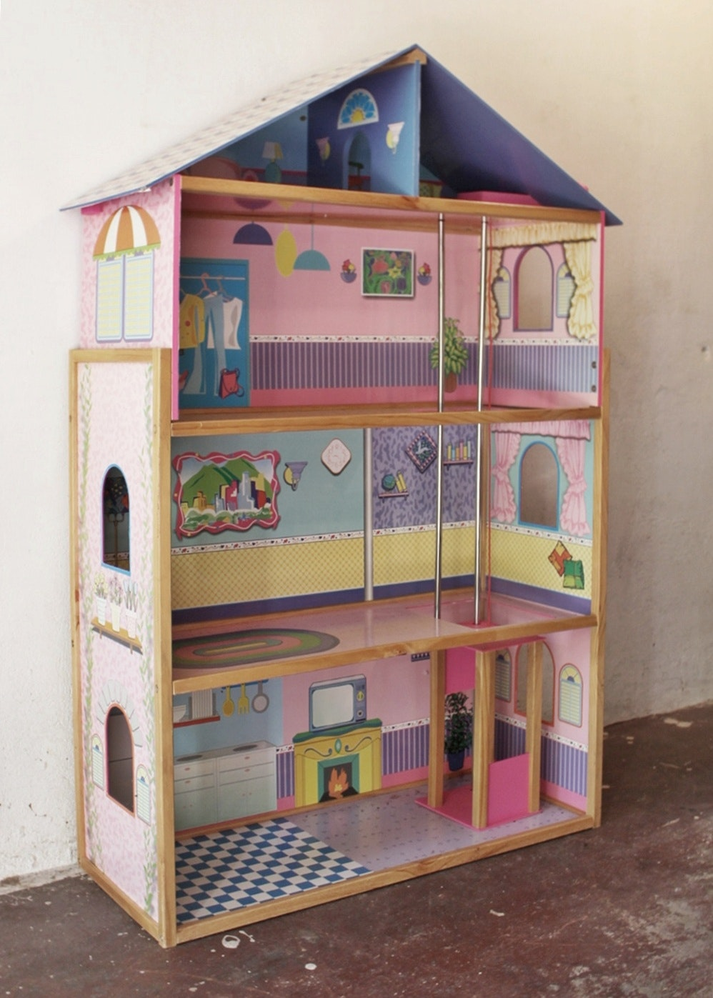 Large Wood Doll House With Elevator Ebth