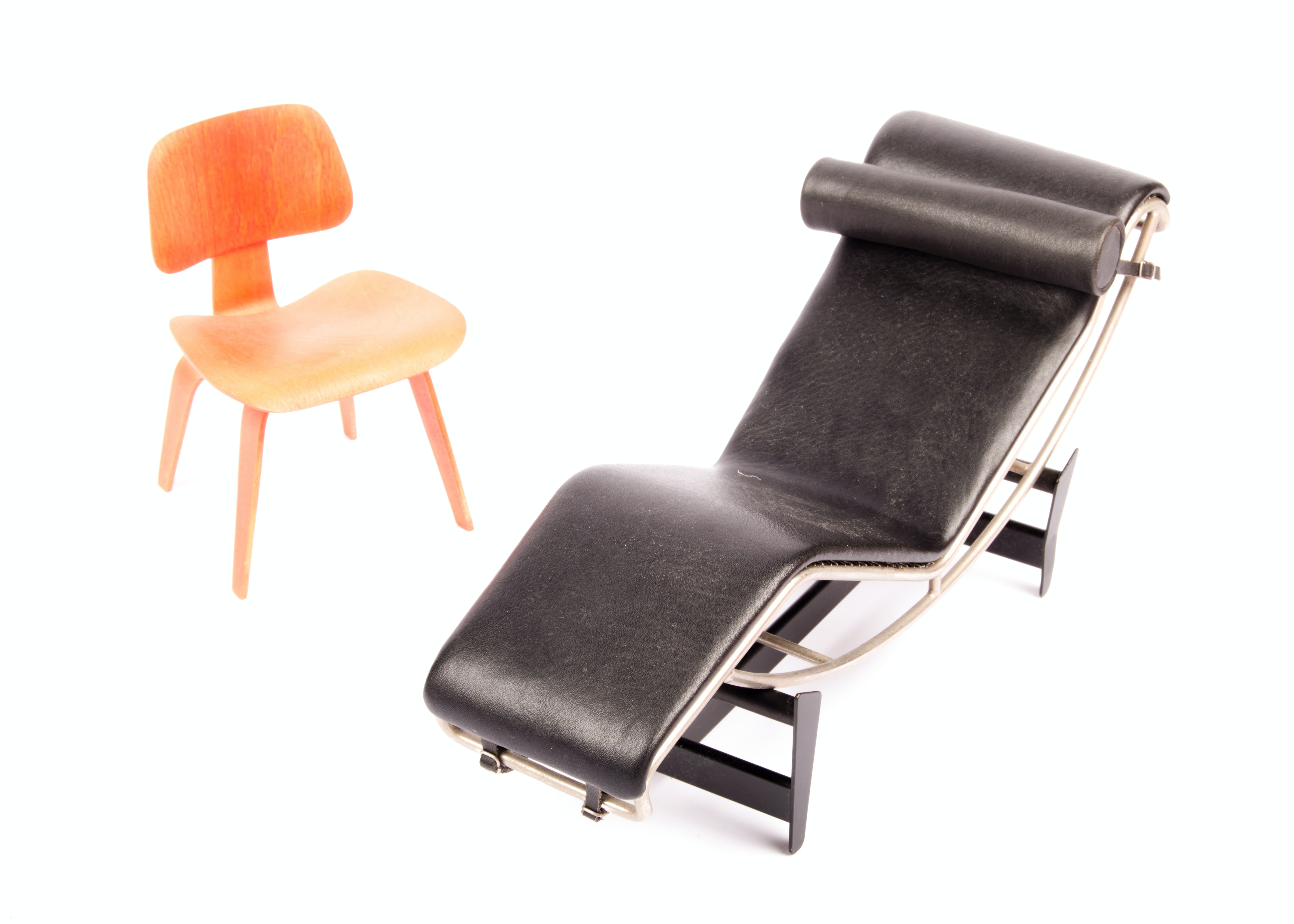Miniature Eames Chair And Lc4 Chaise Lounge By Vitra Design : Ebth
