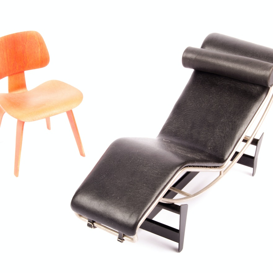 Miniature Eames Chair And Lc4 Chaise Lounge By Vitra