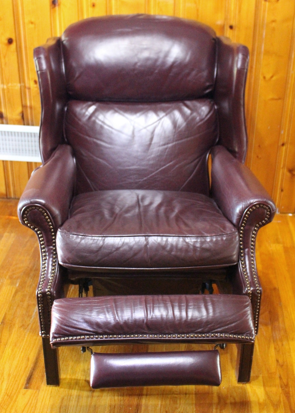 Burgundy Leather Barcalounger Wingback Recliner Ebth