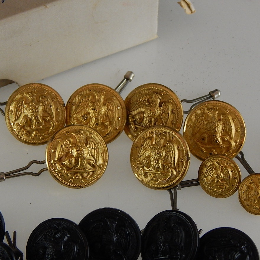 Assorted Vintage Gold and Black Navy Buttons