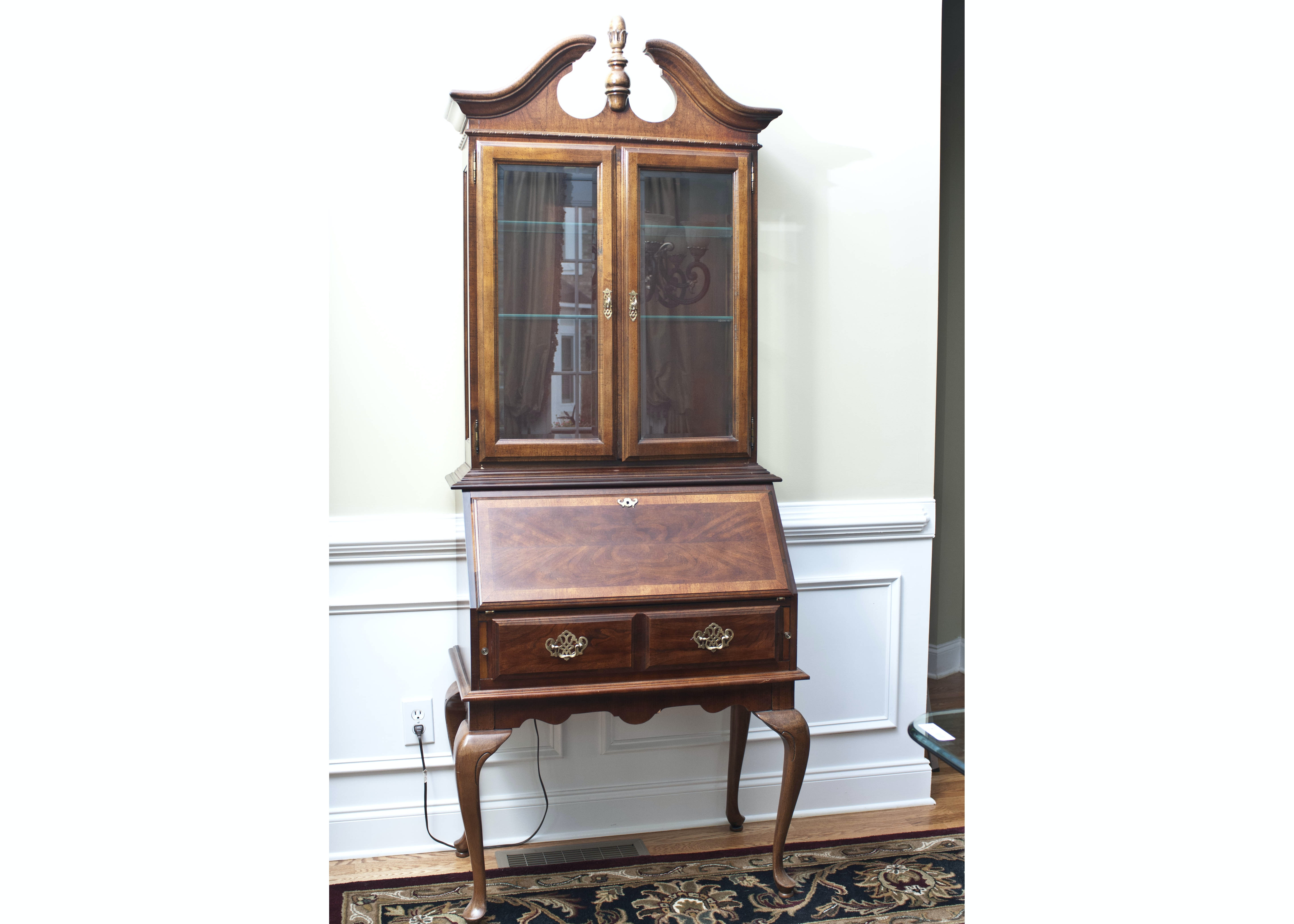 Queen Anne Style Glass Cabinet Secretary Desk Ebth