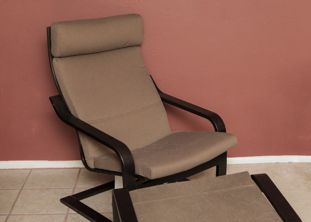 Ikea Poang Chair And Ottoman ...