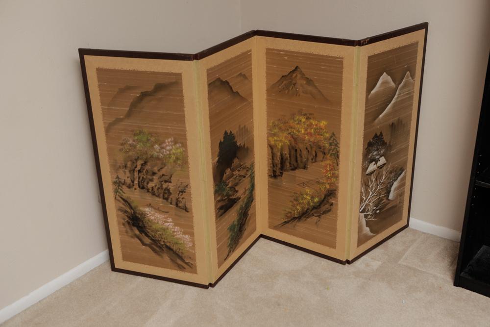 Asian Inspired Folding Screen and Meditation Balls ...