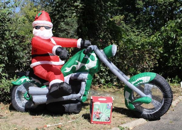 Air blown inflatable santa on a chopper ebth