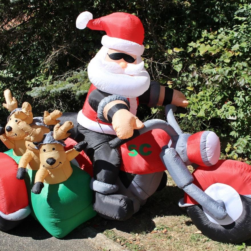 Huge inflatable air blown santa with sidecar and reindeer