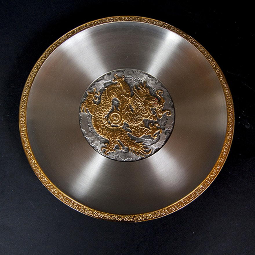 """Pewter """"Year of the Dragon"""" Plate"""