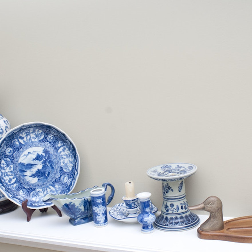 Collection of Blue and White Decorative Items