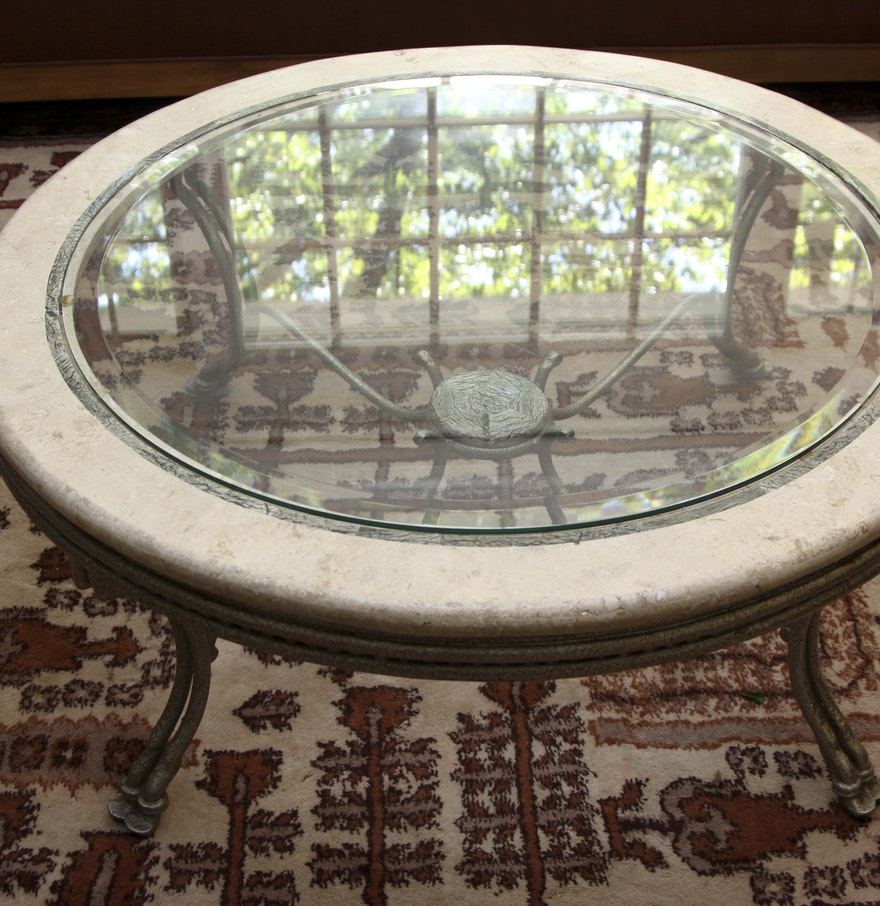 Marble Glass Top Coffee Table: Round Wrought Iron & Marble Veneer Glass Top Coffee Table