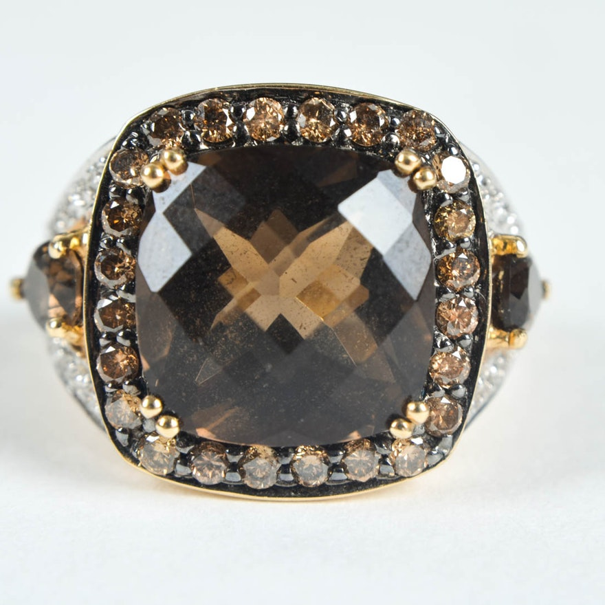 Levian 14K Gold, Diamond And Smoky Quartz Ring