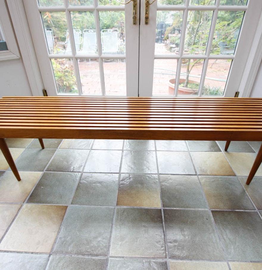 Vintage mid century modern slat bench ebth vintage mid century modern slat bench geotapseo Gallery