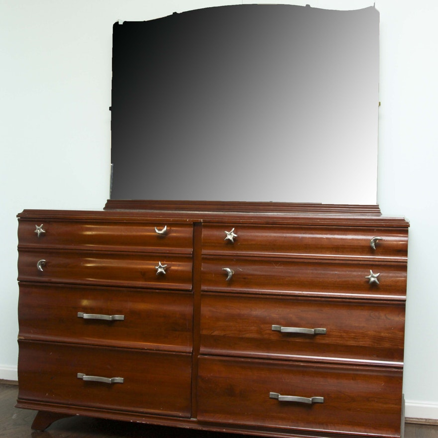 Kling Vintage Solid Cherry Wood Dresser With Mirror Ebth