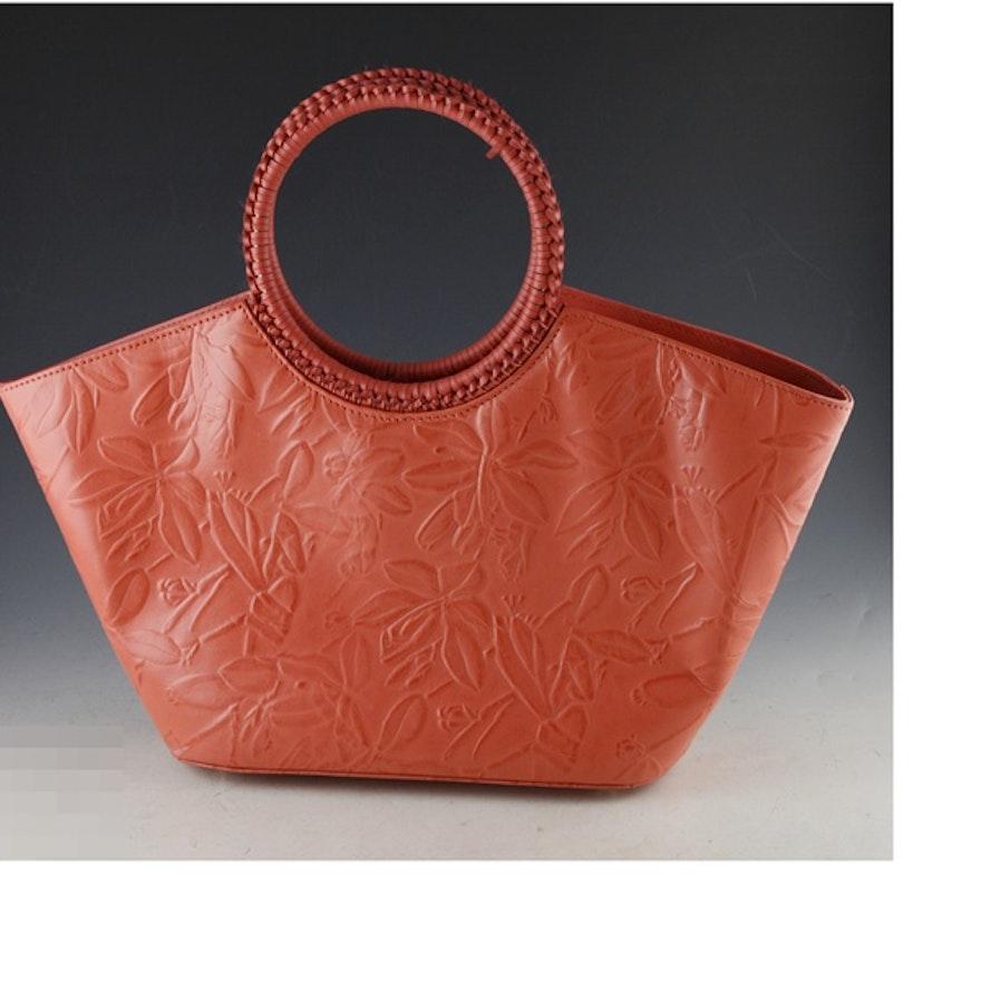 3f9af650b4a2 Donna Dixon Coral Leather Floral Embossed Handbag   EBTH