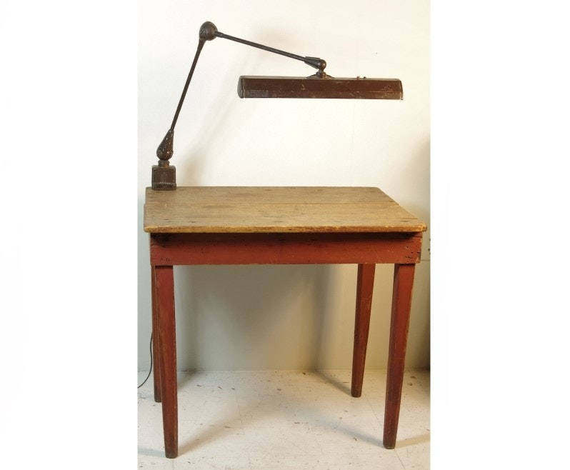 Antique Primitive Farm Table With Vintage Flexo Industrial Lamp Ebth