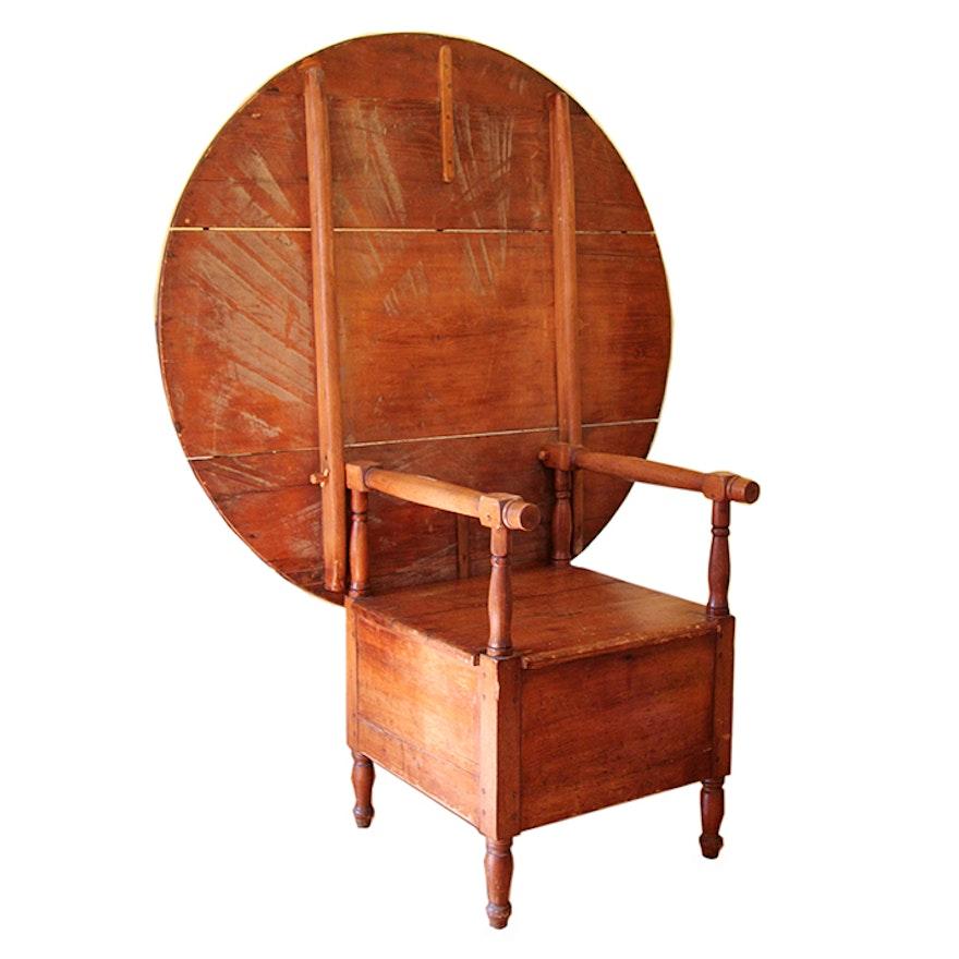 Antique Pine Tilt-Top Chair Table ... - Antique Pine Tilt-Top Chair Table : EBTH