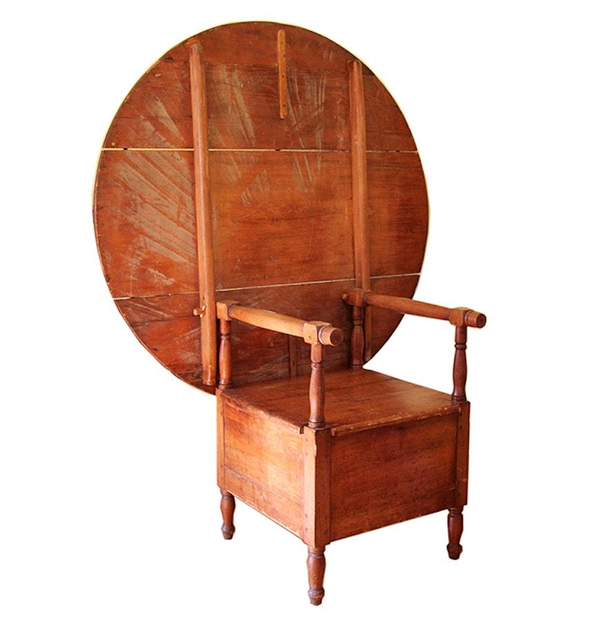 Antique Pine Tilt Top Chair Table. Online Furniture Auctions   Vintage Furniture Auction   Antique