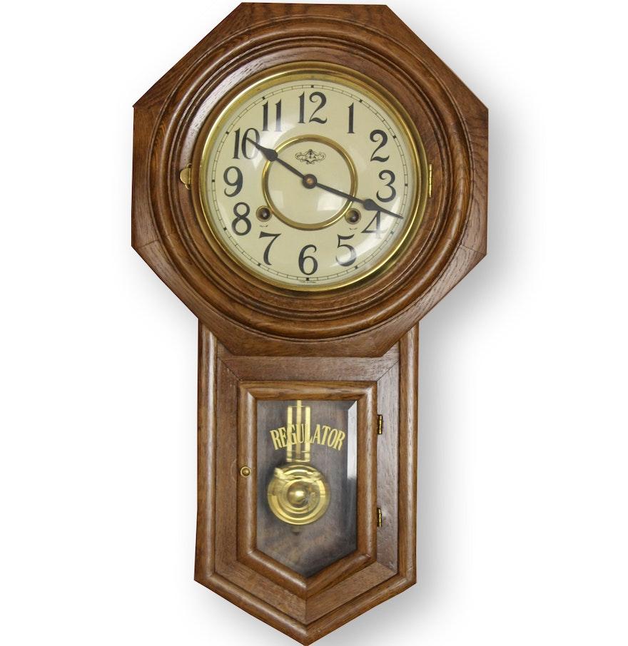 Vintage Chiming Regulator Schoolhouse Wall Clock Ebth