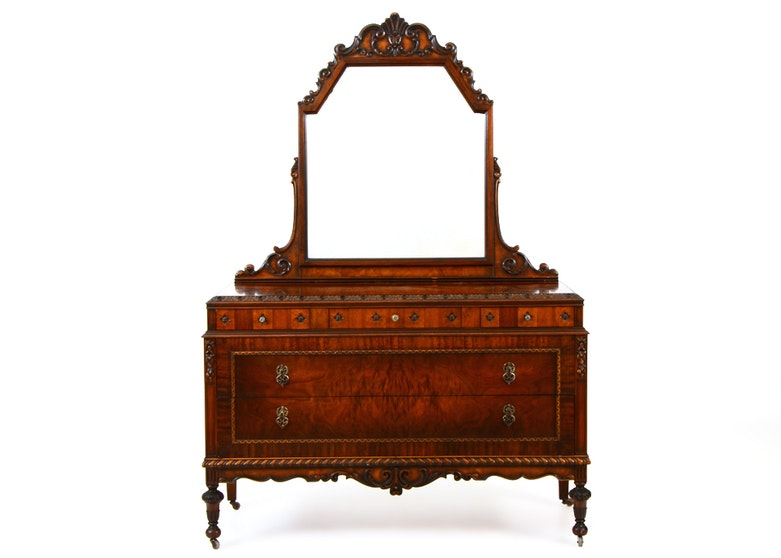 Walnut Carved Dresser By Blackhawk ...
