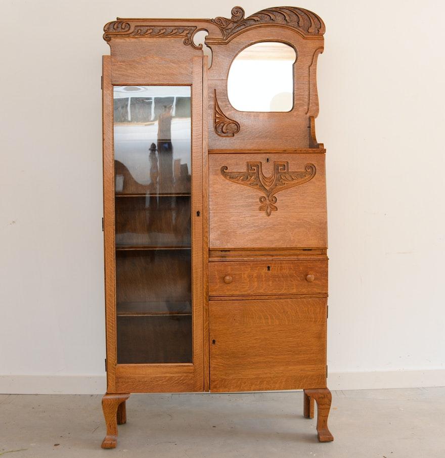 Antique Oak Side By Side Secretary Bookcase Ebth