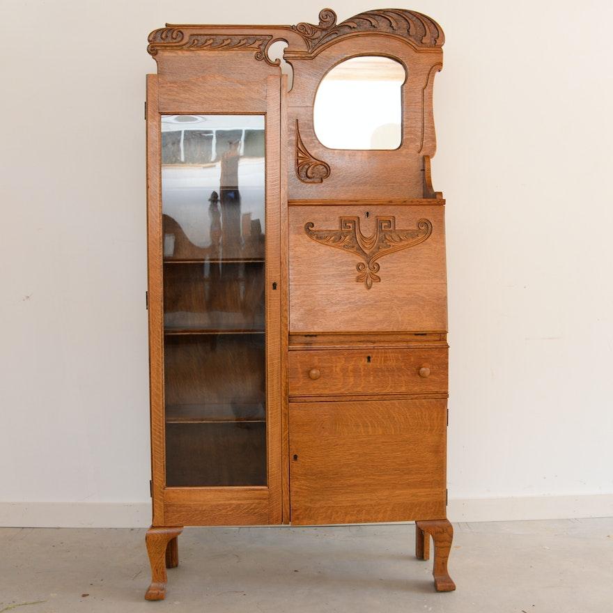 Antique Oak Side by Side Secretary Bookcase