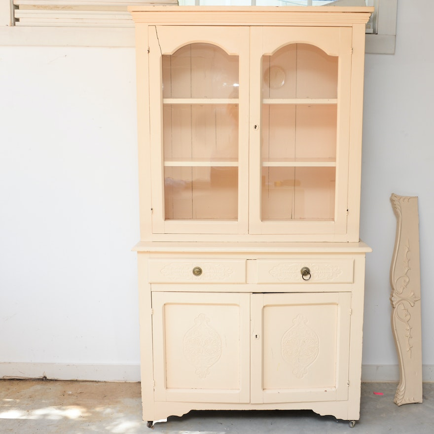 Vintage Painted Oak China Cabinet Hutch