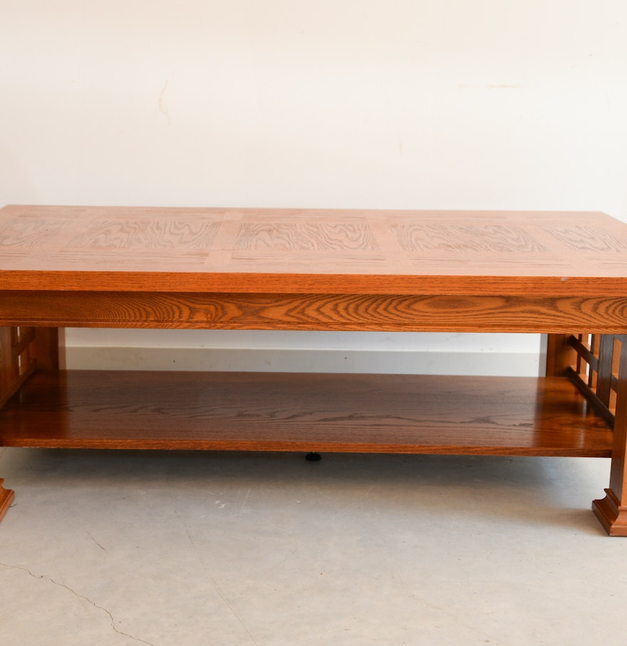 Mission Style Golden Oak Veneer Coffee Table Ebth