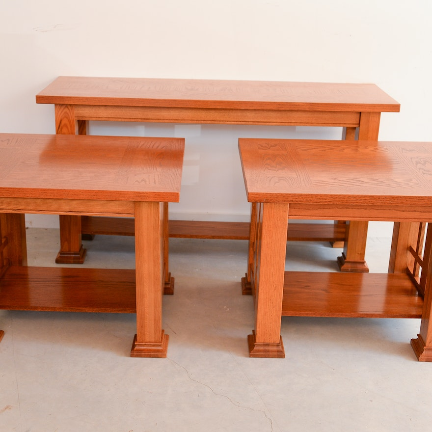 Two Mission Style End Tables and a Console Table