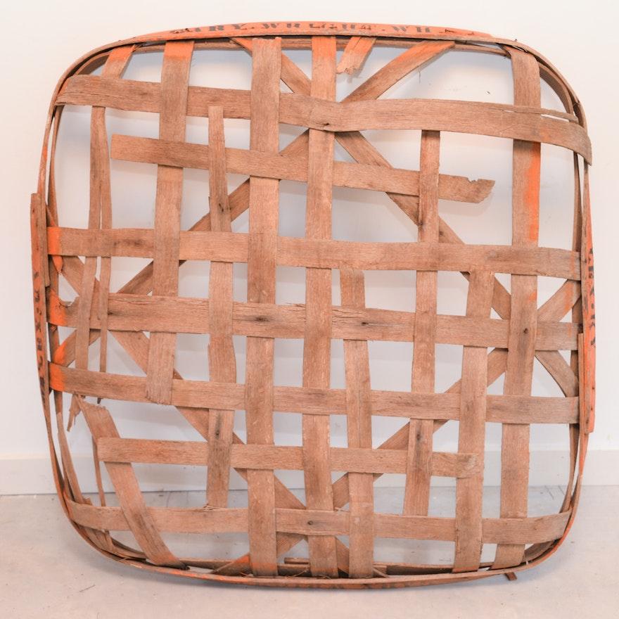 Vintage Handmade White Oak Tobacco Basket