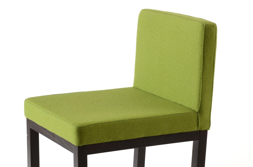 Pair Of A Sibau Barstools With Fern Green Seat And Back