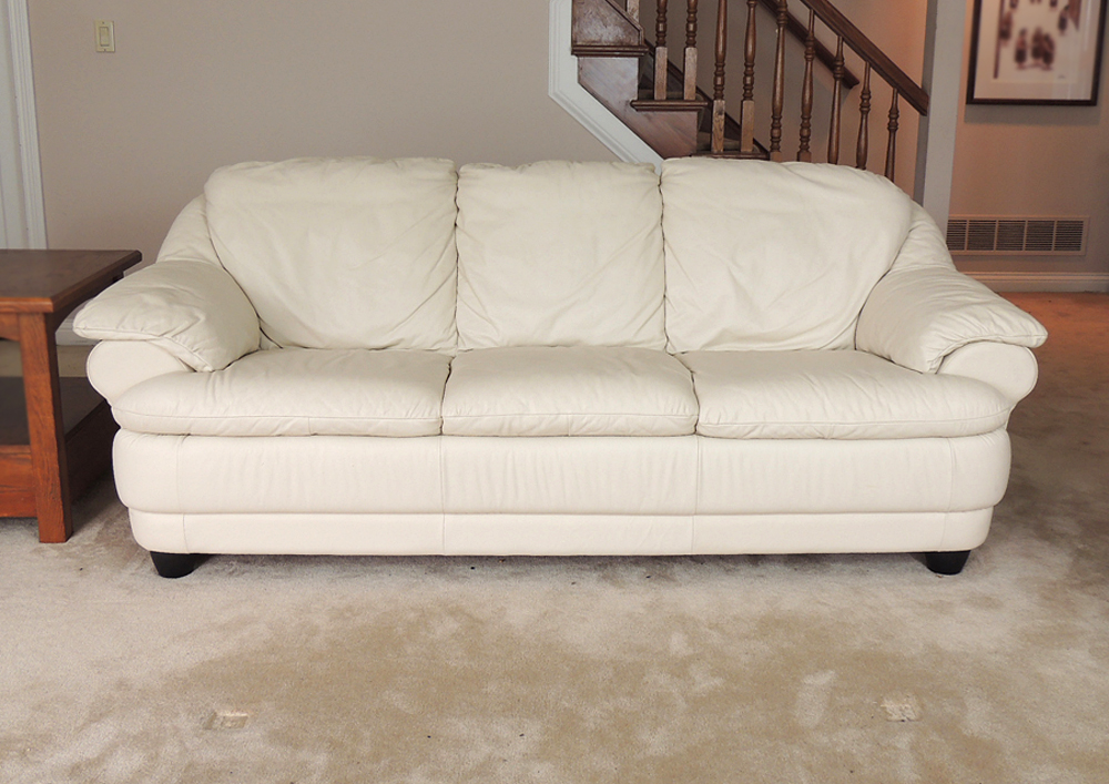 Off-White Leather Sofa