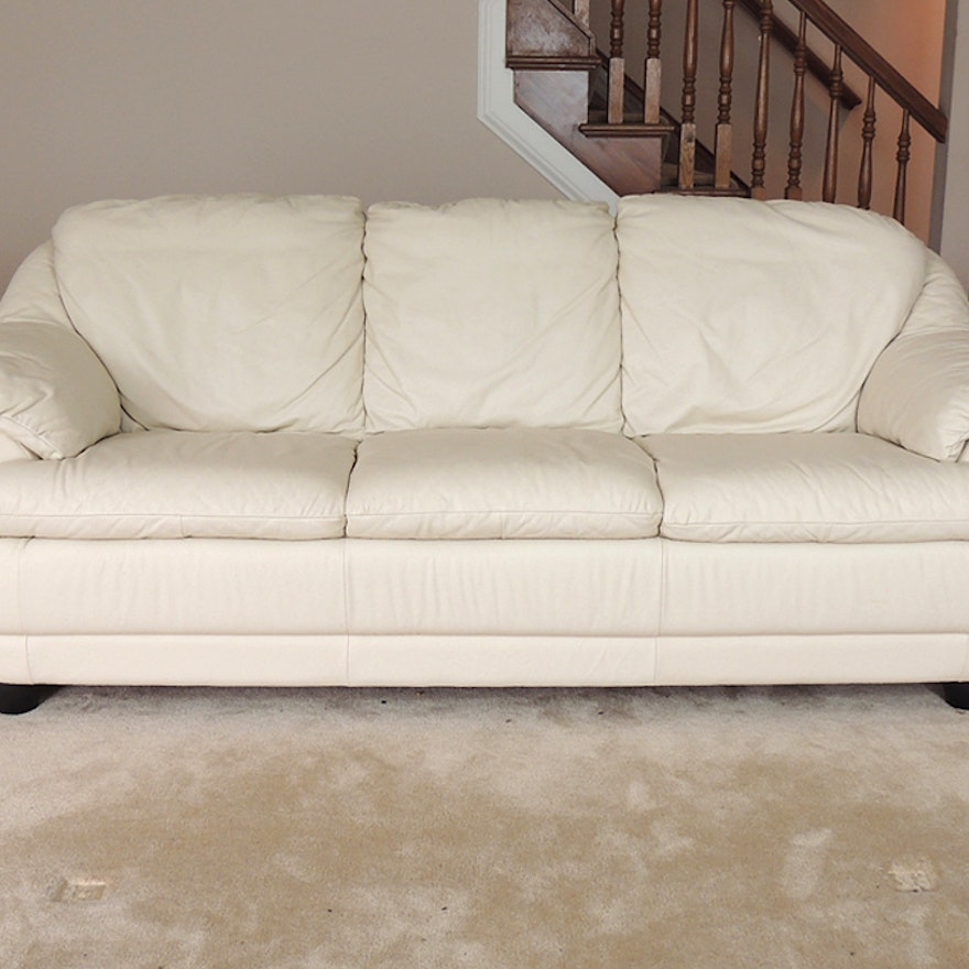 Off White Leather Sofa Ebth