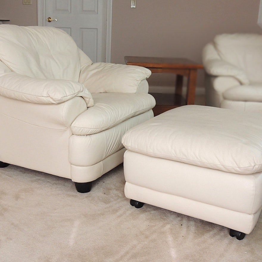Off White Leather Chair And Ottoman