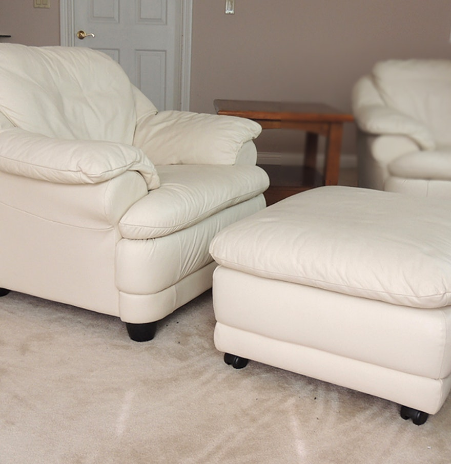 Off White Leather Chair and Ottoman. Off White Leather Chair and Ottoman   EBTH