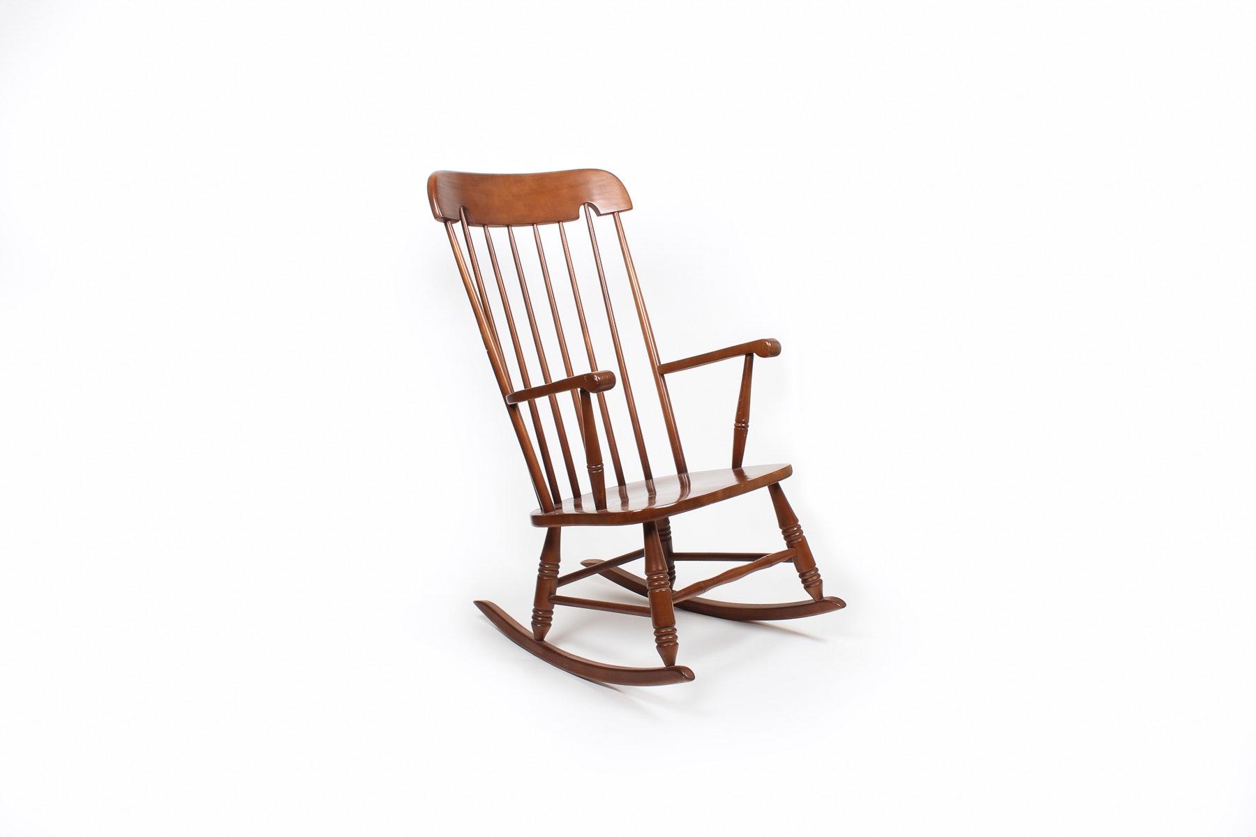 Vintage Cherry Windsor Style Rocking Chair Ebth