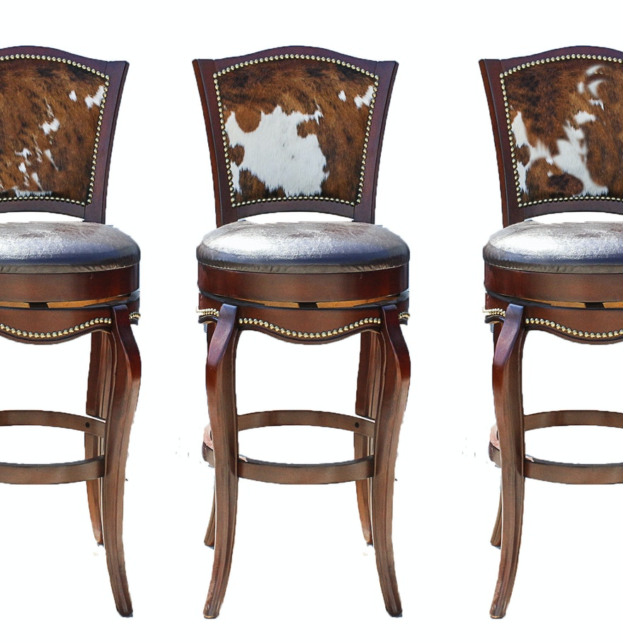 Three Leather and Cowhide Upholstered Barstools : EBTH
