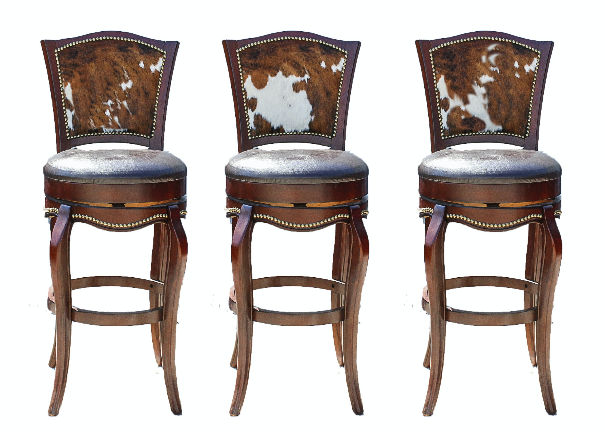 Three Leather And Cowhide Upholstered Barstools ...