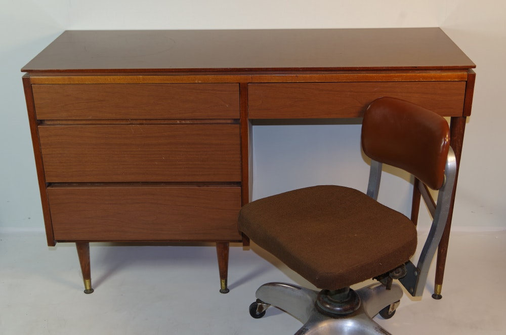 Mid Century Office Desk And Industrial Swivel Chair ...