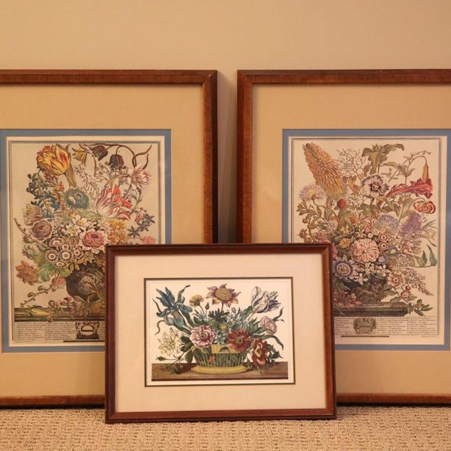 Framed Floral Lithographs