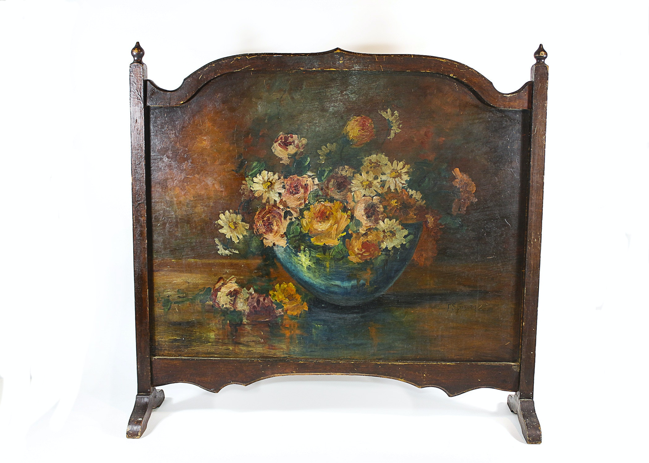 wood fireplace screen painted by listed artist fred