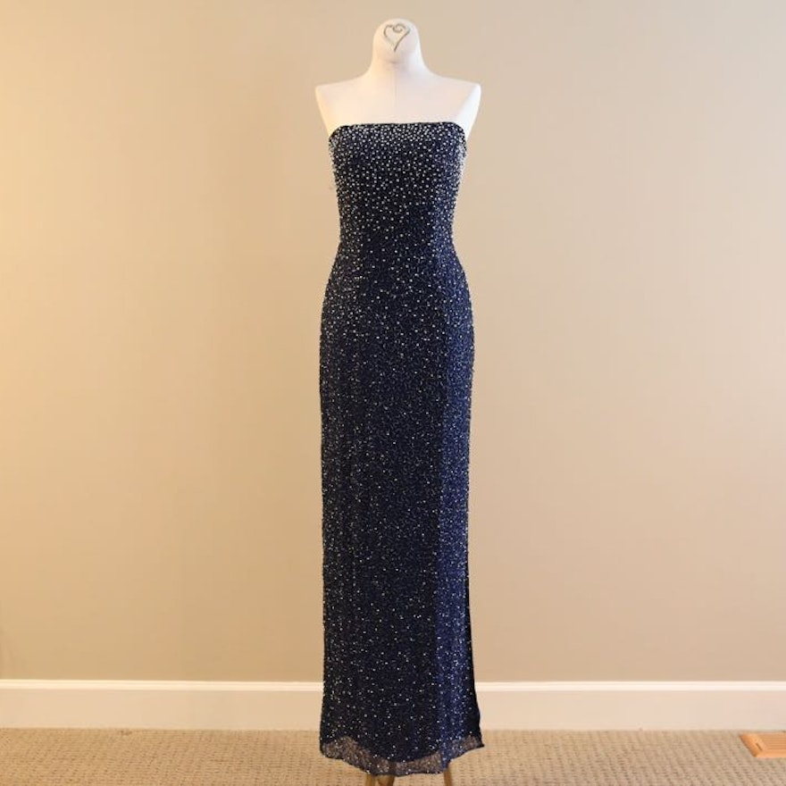 Navy Strapless Beaded Evening Gown