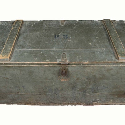 Vintage Army Trunk, Machete and Tools - Online Furniture Auctions Vintage Furniture Auction Antique