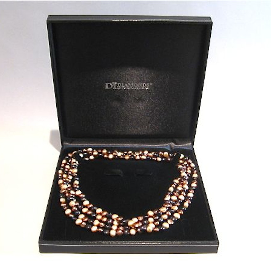 Brown and Gold Toned Pearl Necklace