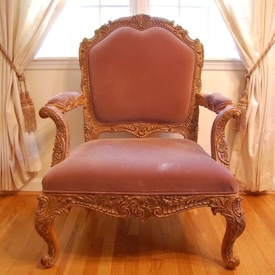 Louis XV Rococo Style Fauteuil - Online Furniture Auctions Vintage Furniture Auction Antique