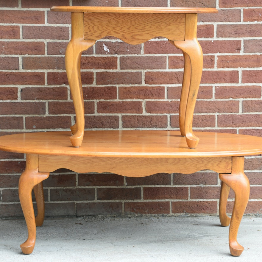 Queen Anne Style Oval Coffee Table and End Table