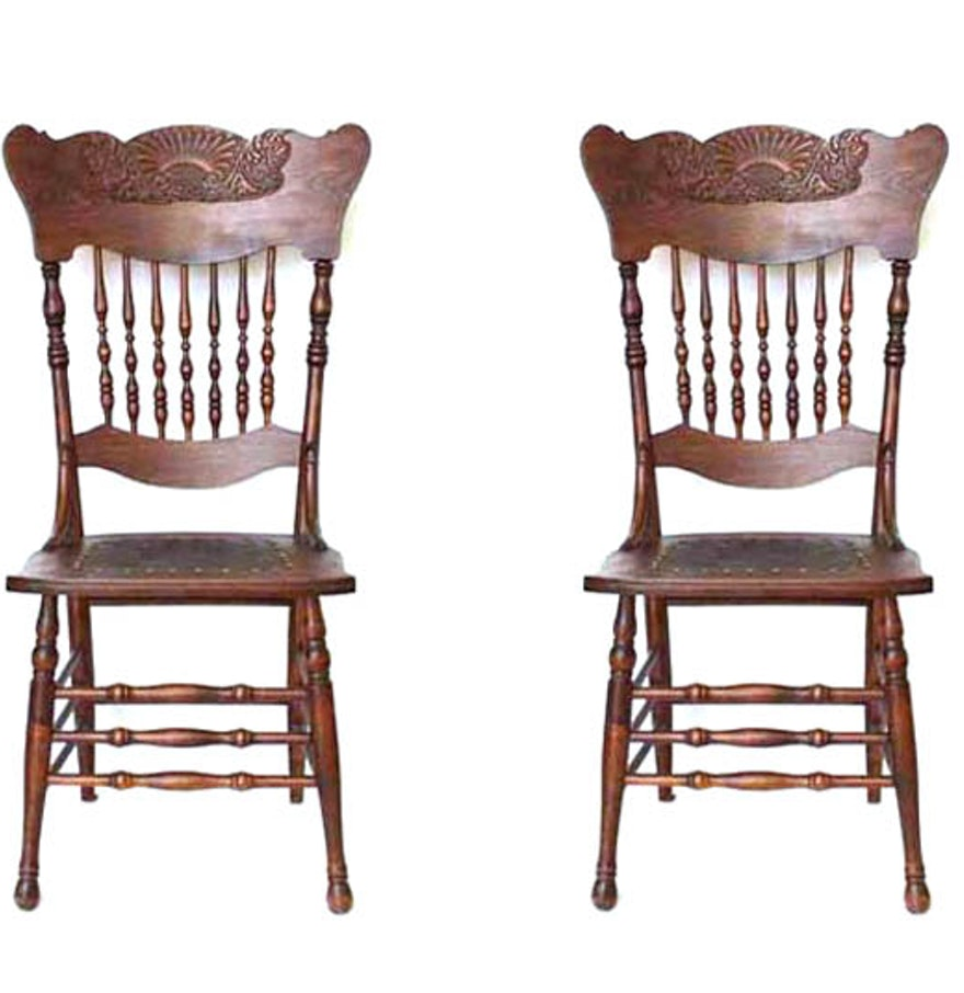 Pressed Oak Chairs ~ Pair of victorian pressed back oak chairs ebth
