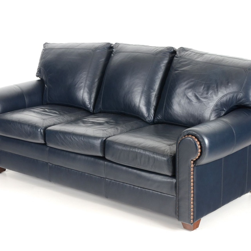 stickley navy leather sofa ebth. Black Bedroom Furniture Sets. Home Design Ideas