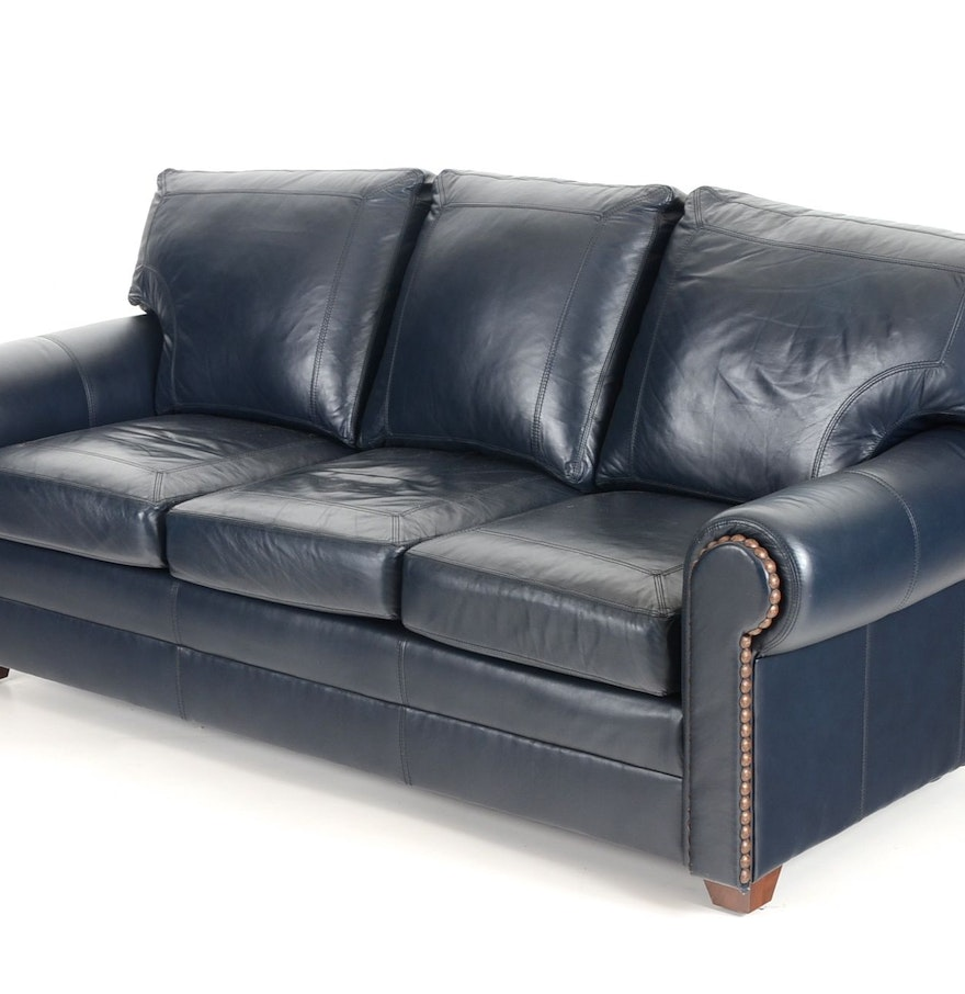 Navy leather sofa donato modern leather sectional thesofa for Blue leather sofa