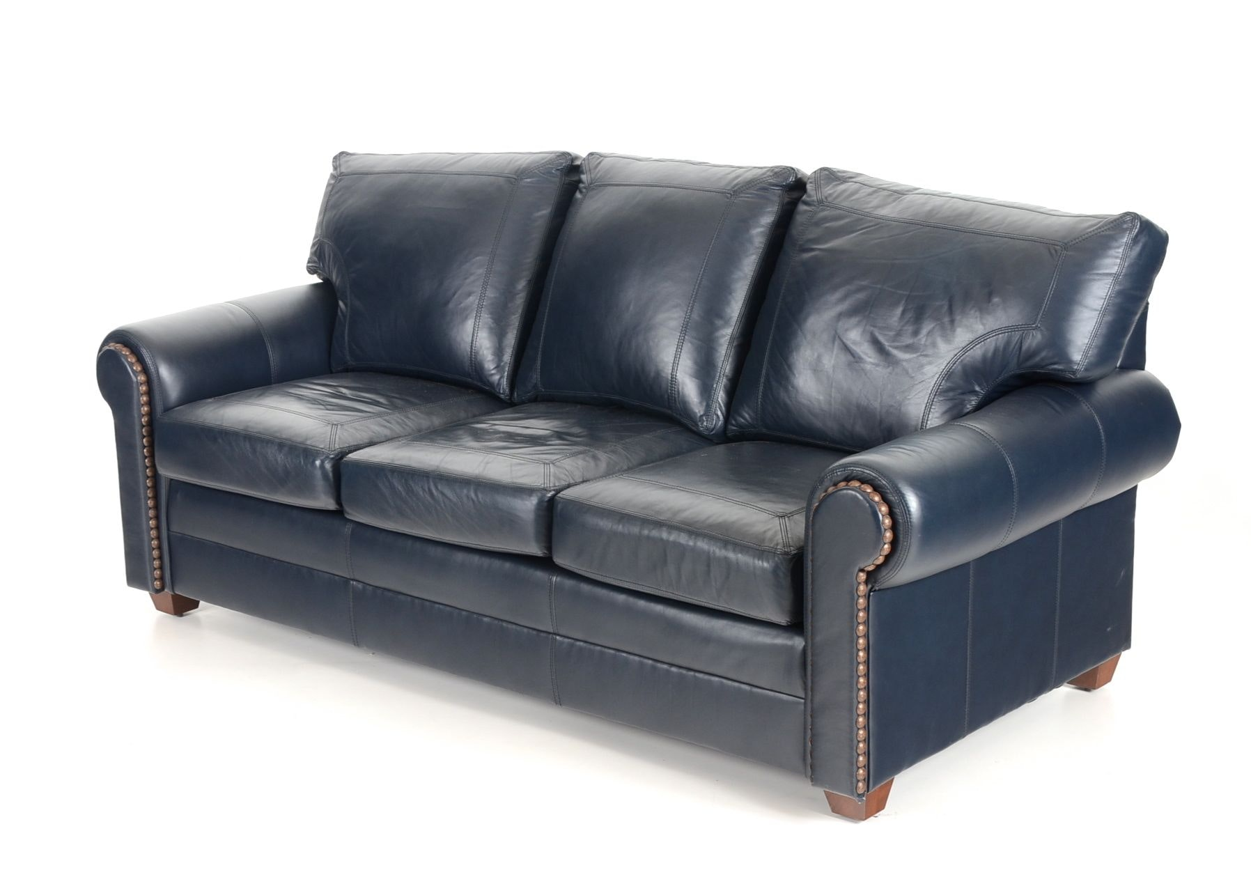 Gentil Stickley Navy Leather Sofa ...